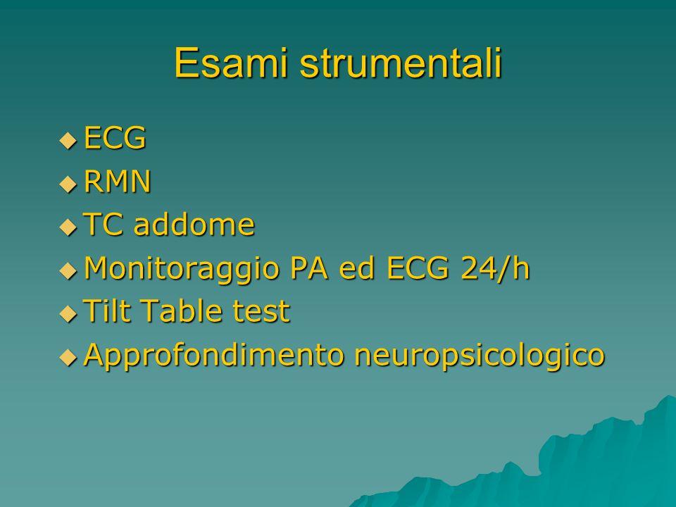 Esami strumentali ECG ECG RMN RMN TC addome TC addome Monitoraggio PA ed ECG 24/h Monitoraggio PA ed ECG 24/h Tilt Table test Tilt Table test Approfon