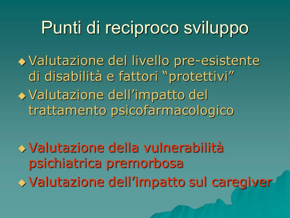 Punti di reciproco sviluppo Valutazione del livello pre-esistente di disabilità e fattori protettivi Valutazione del livello pre-esistente di disabili