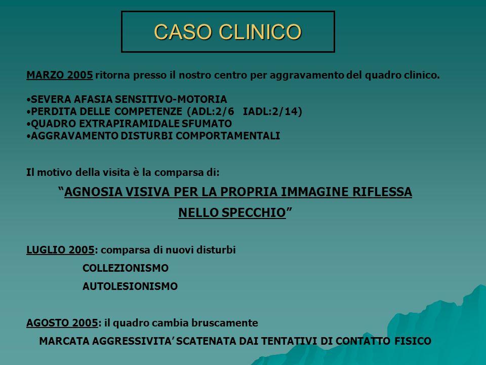 CASO CLINICO MARZO 2005 ritorna presso il nostro centro per aggravamento del quadro clinico. SEVERA AFASIA SENSITIVO-MOTORIA PERDITA DELLE COMPETENZE