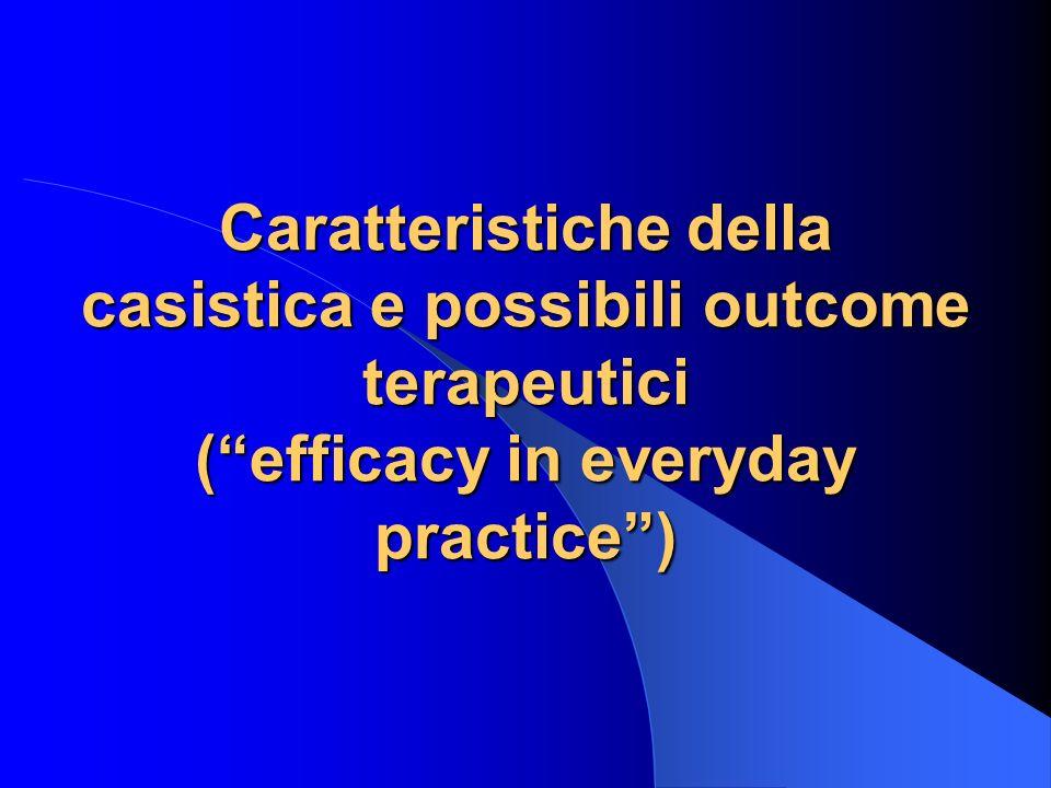 Caratteristiche della casistica e possibili outcome terapeutici (efficacy in everyday practice)