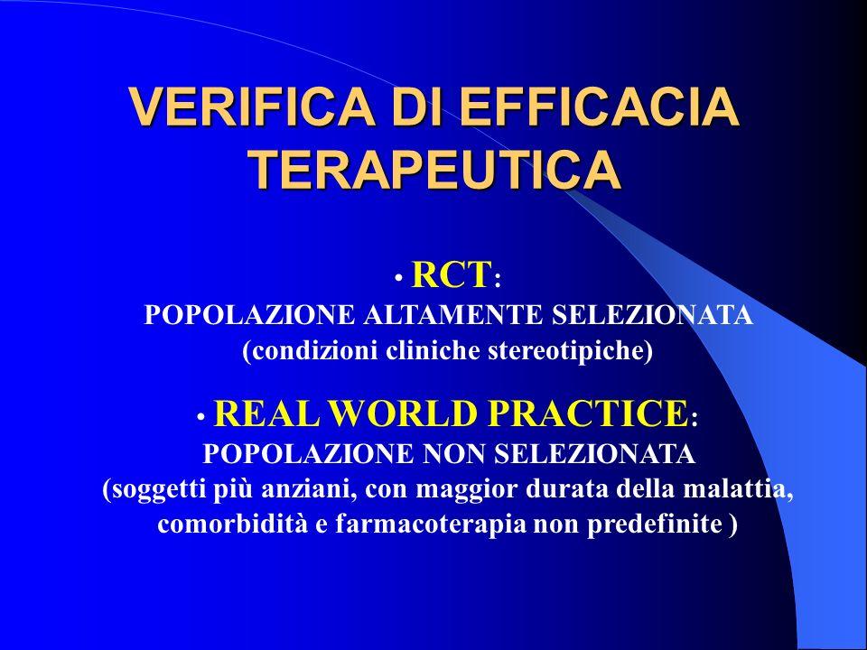 VERIFICA DI EFFICACIA TERAPEUTICA RCT : POPOLAZIONE ALTAMENTE SELEZIONATA (condizioni cliniche stereotipiche) REAL WORLD PRACTICE : POPOLAZIONE NON SE