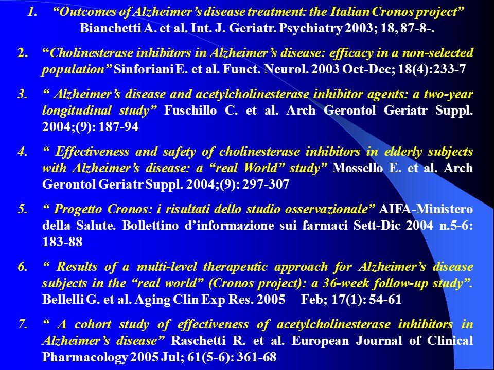 1. 1.Outcomes of Alzheimers disease treatment: the Italian Cronos project Bianchetti A. et al. Int. J. Geriatr. Psychiatry 2003; 18, 87-8-. 2. 2.Choli