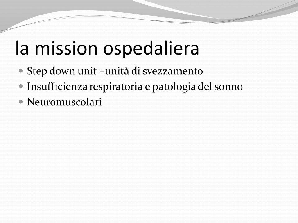la mission ospedaliera Step down unit –unità di svezzamento Insufficienza respiratoria e patologia del sonno Neuromuscolari