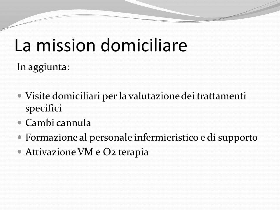 In aggiunta: Visite domiciliari per la valutazione dei trattamenti specifici Cambi cannula Formazione al personale infermieristico e di supporto Attiv
