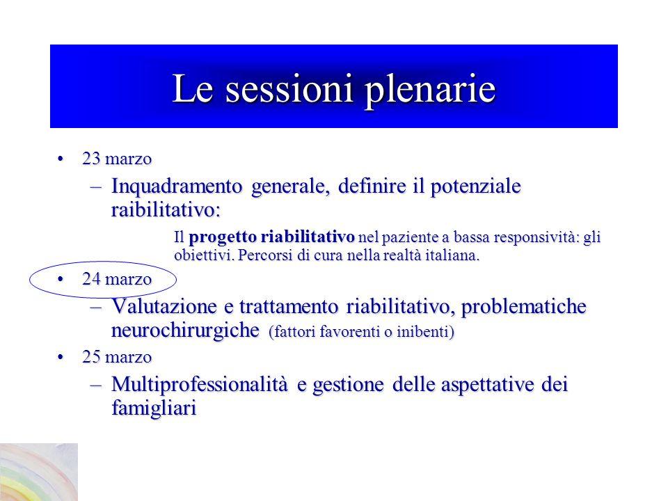 Le sessioni plenarie 23 marzo23 marzo –Inquadramento generale, definire il potenziale raibilitativo: Il progetto riabilitativo nel paziente a bassa responsività: gli obiettivi.