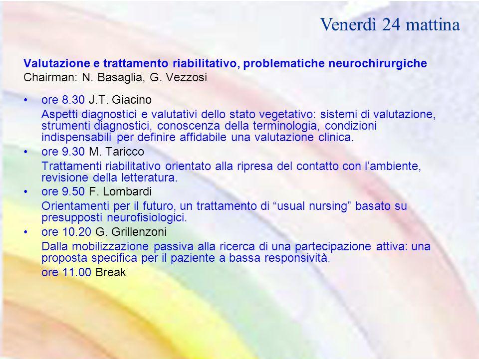 Valutazione e trattamento riabilitativo, problematiche neurochirurgiche Chairman: N.