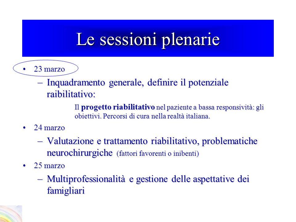 Inquadramento generale sul progetto riabilitativo di questi malati e sugli obiettivi Chairman: P.