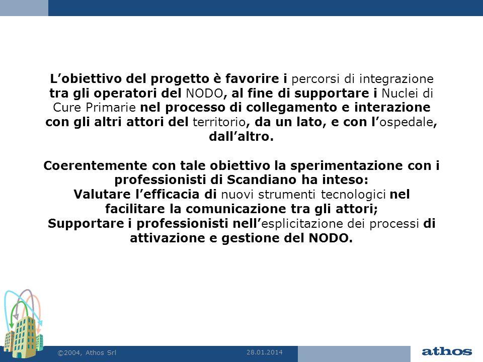 28.01.2014 ©2004, Athos Srl Lobiettivo del progetto è favorire i percorsi di integrazione tra gli operatori del NODO, al fine di supportare i Nuclei d