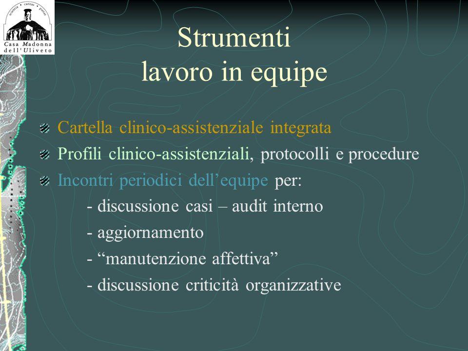 Strumenti lavoro in equipe Cartella clinico-assistenziale integrata Profili clinico-assistenziali, protocolli e procedure Incontri periodici dellequip