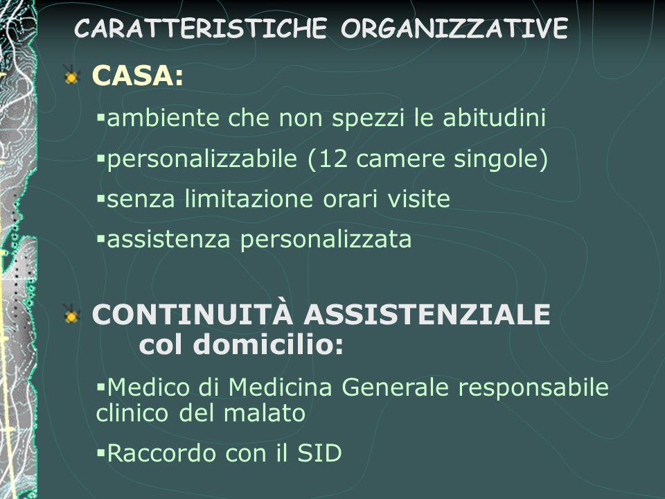CARATTERISTICHE ORGANIZZATIVE CASA: §ambiente che non spezzi le abitudini §personalizzabile (12 camere singole) §senza limitazione orari visite §assis