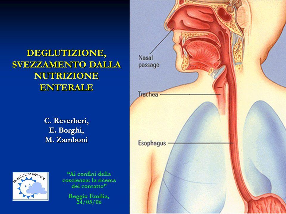 DEGLUTIZIONE, SVEZZAMENTO DALLA NUTRIZIONE ENTERALE C. Reverberi, E. Borghi, M. Zamboni Ai confini della coscienza: la ricerca del contatto Reggio Emi