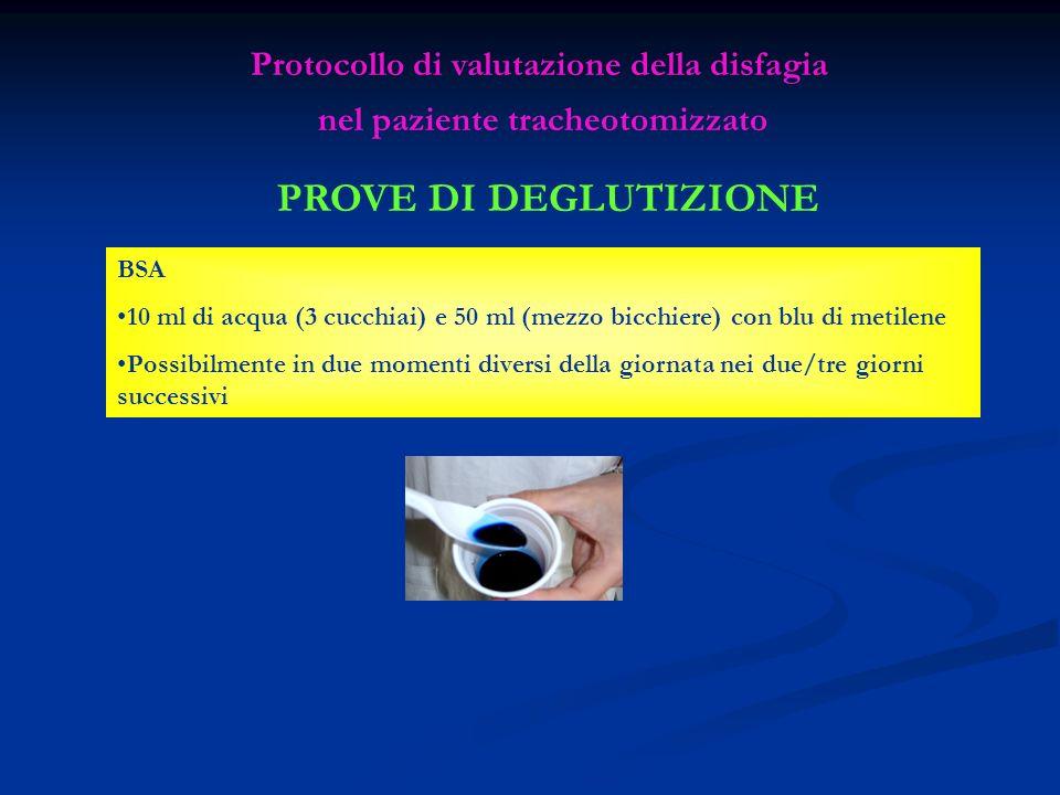 PROVE DI DEGLUTIZIONE Protocollo di valutazione della disfagia nel paziente tracheotomizzato BSA 10 ml di acqua (3 cucchiai) e 50 ml (mezzo bicchiere)