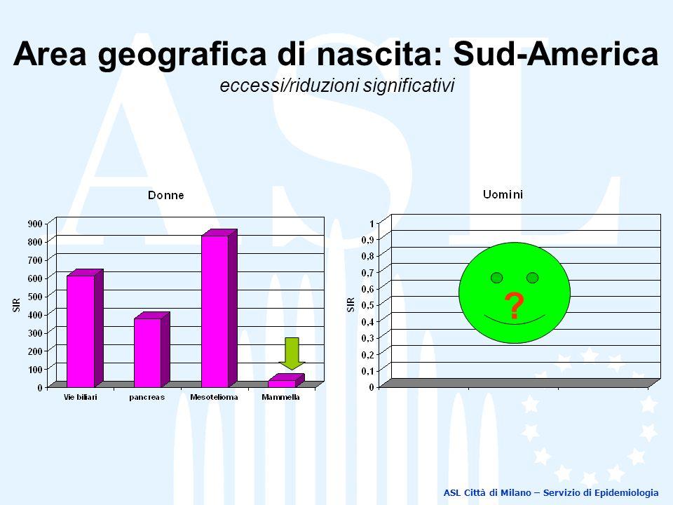 ASL Città di Milano – Servizio di Epidemiologia Area geografica di nascita: Sud-America eccessi/riduzioni significativi ?