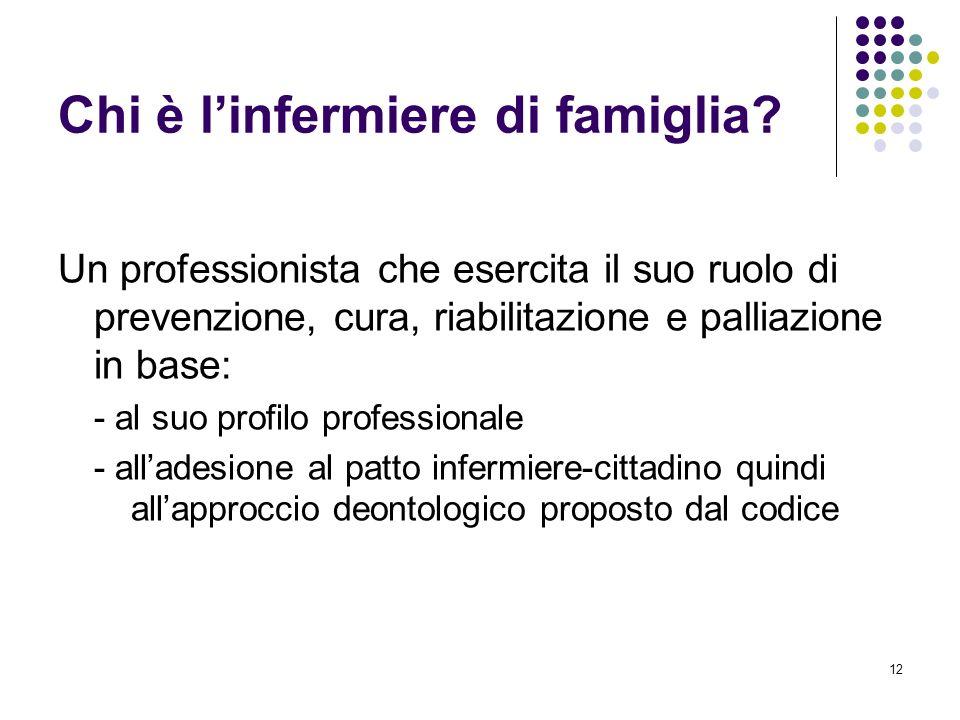 12 Chi è linfermiere di famiglia? Un professionista che esercita il suo ruolo di prevenzione, cura, riabilitazione e palliazione in base: - al suo pro