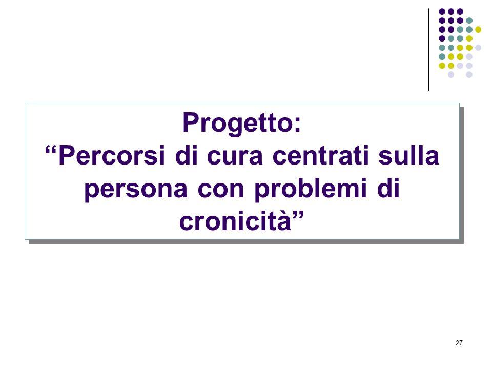 27 Progetto: Percorsi di cura centrati sulla persona con problemi di cronicità