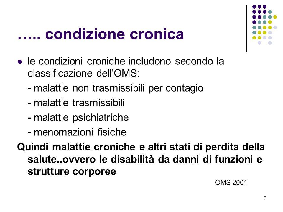 5 ….. condizione cronica le condizioni croniche includono secondo la classificazione dellOMS: - malattie non trasmissibili per contagio - malattie tra