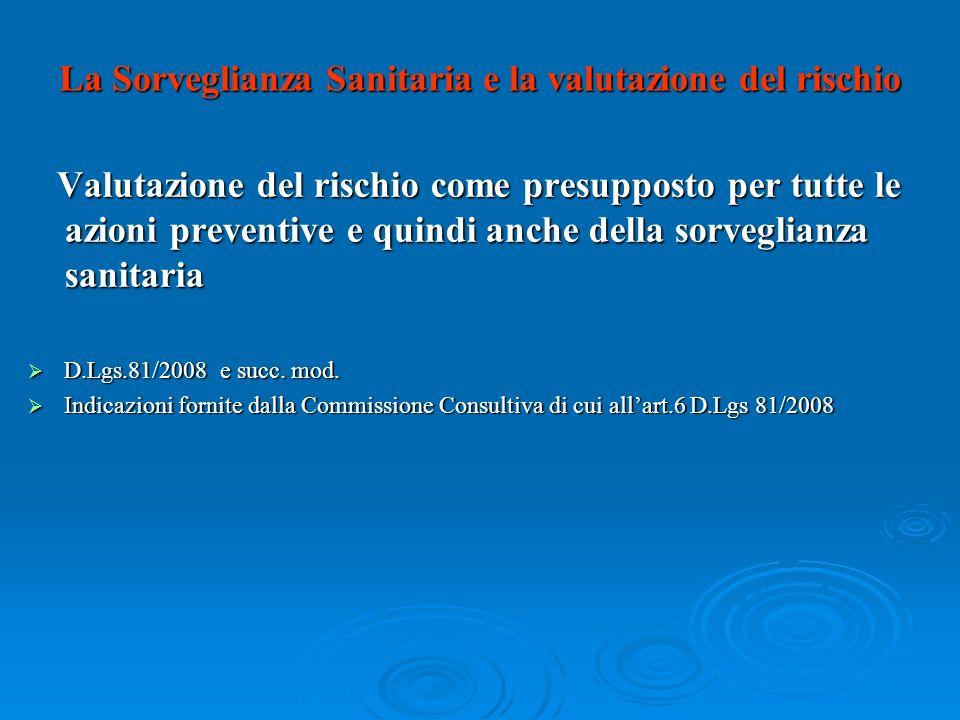 La Sorveglianza Sanitaria e la valutazione del rischio Valutazione del rischio come presupposto per tutte le azioni preventive e quindi anche della so