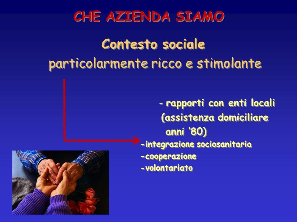 CHE AZIENDA SIAMO Contesto sociale particolarmente ricco e stimolante - rapporti con enti locali (assistenza domiciliare anni 80) -integrazione socios