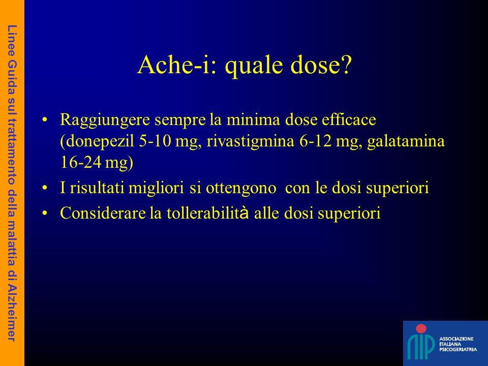Ache-i: quale dose? Raggiungere sempre la minima dose efficace (donepezil 5-10 mg, rivastigmina 6-12 mg, galatamina 16-24 mg) I risultati migliori si