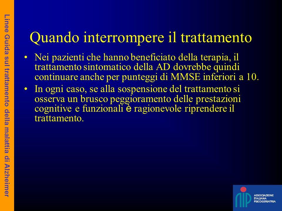 Quando interrompere il trattamento Nei pazienti che hanno beneficiato della terapia, il trattamento sintomatico della AD dovrebbe quindi continuare an