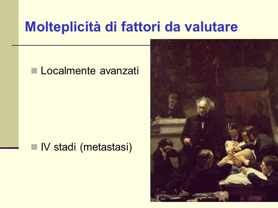 Localmente avanzati IV stadi (metastasi) Molteplicità di fattori da valutare