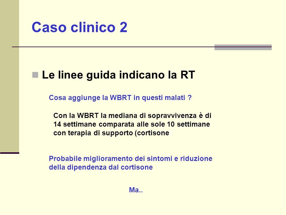 Le linee guida indicano la RT Cosa aggiunge la WBRT in questi malati ? Probabile miglioramento dei sintomi e riduzione della dipendenza dal cortisone