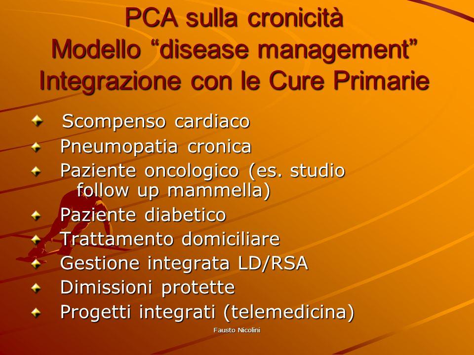 Fausto Nicolini PCA sulla cronicità Modello disease management Integrazione con le Cure Primarie Scompenso cardiaco Scompenso cardiaco Pneumopatia cro
