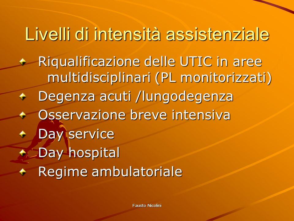 Fausto Nicolini Livelli di intensità assistenziale Riqualificazione delle UTIC in aree multidisciplinari (PL monitorizzati) Riqualificazione delle UTI
