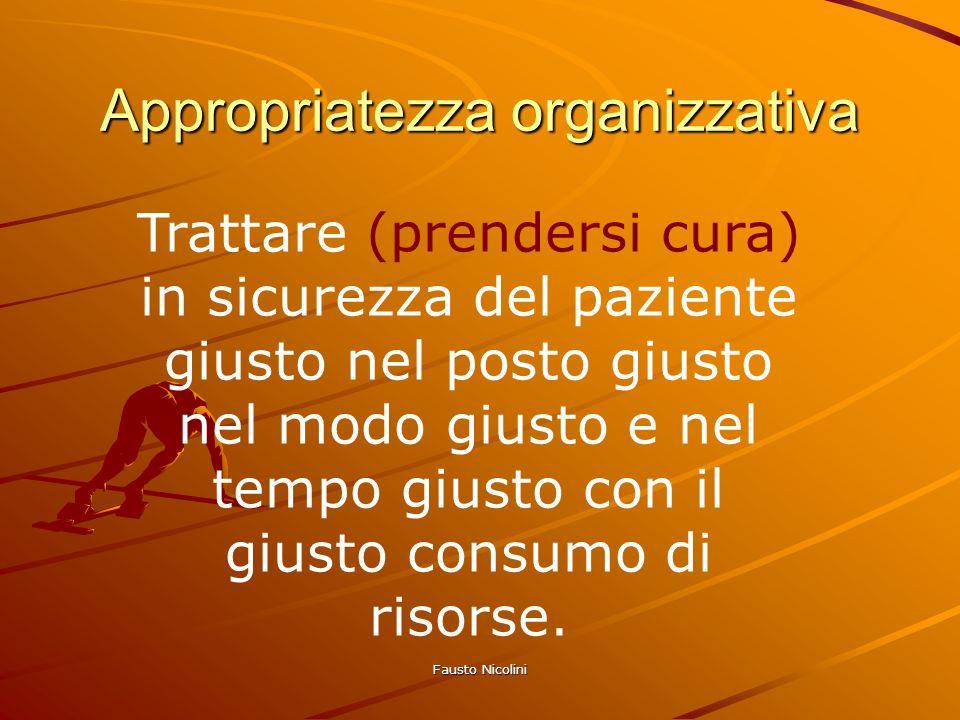 Fausto Nicolini Appropriatezza organizzativa Trattare (prendersi cura) in sicurezza del paziente giusto nel posto giusto nel modo giusto e nel tempo g