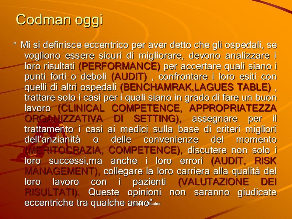 Fausto Nicolini Codman oggi Mi si definisce eccentrico per aver detto che gli ospedali, se vogliono essere sicuri di migliorare, devono analizzare i l