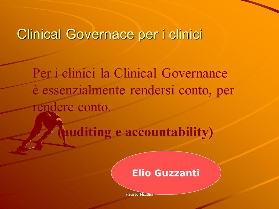Fausto Nicolini Clinical Governace per i clinici Per i clinici la Clinical Governance è essenzialmente rendersi conto, per rendere conto. (auditing e