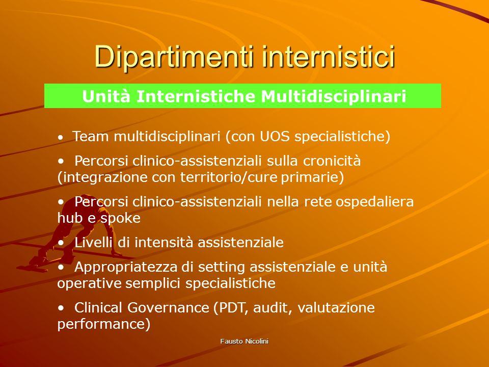 Fausto Nicolini Dipartimenti internistici Unità Internistiche Multidisciplinari Team multidisciplinari (con UOS specialistiche) Percorsi clinico-assis