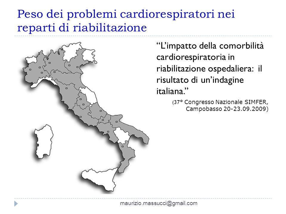 Peso dei problemi cardiorespiratori nei reparti di riabilitazione Limpatto della comorbilità cardiorespiratoria in riabilitazione ospedaliera: il risu