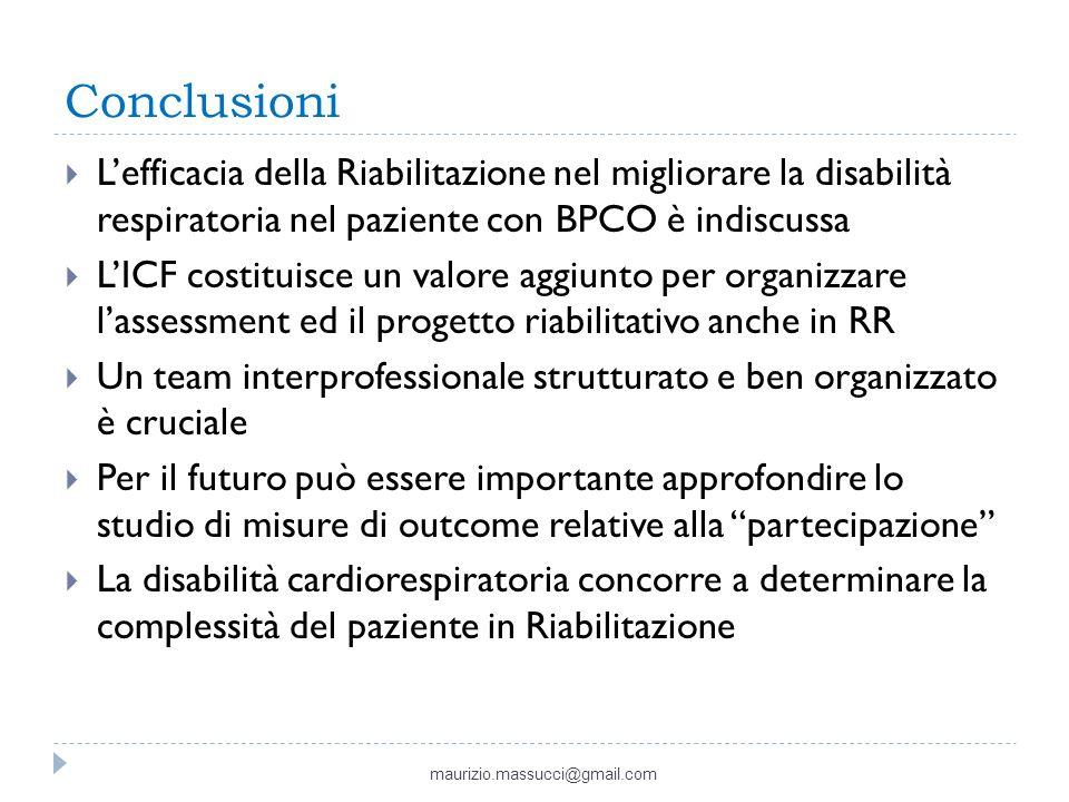 Conclusioni Lefficacia della Riabilitazione nel migliorare la disabilità respiratoria nel paziente con BPCO è indiscussa LICF costituisce un valore ag