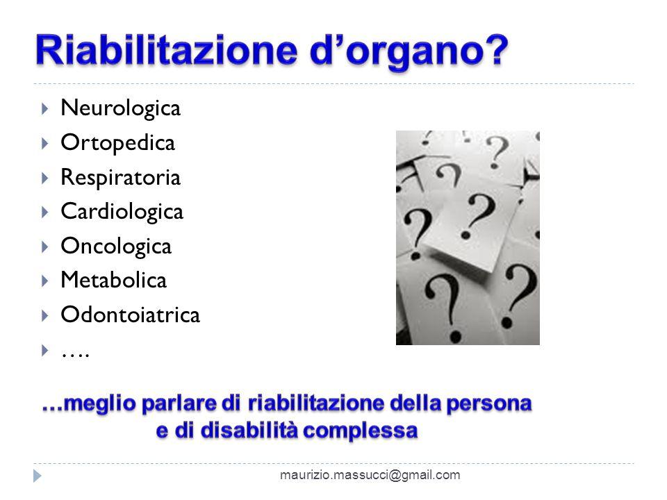 Neurologica Ortopedica Respiratoria Cardiologica Oncologica Metabolica Odontoiatrica …. maurizio.massucci@gmail.com