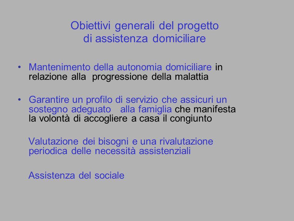 Obiettivi generali del progetto di assistenza domiciliare Mantenimento della autonomia domiciliare in relazione alla progressione della malattia Garan