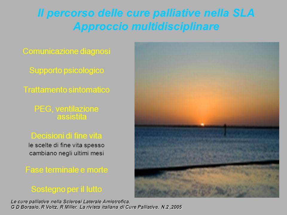 Il percorso delle cure palliative nella SLA Approccio multidisciplinare Comunicazione diagnosi Supporto psicologico Trattamento sintomatico PEG, venti