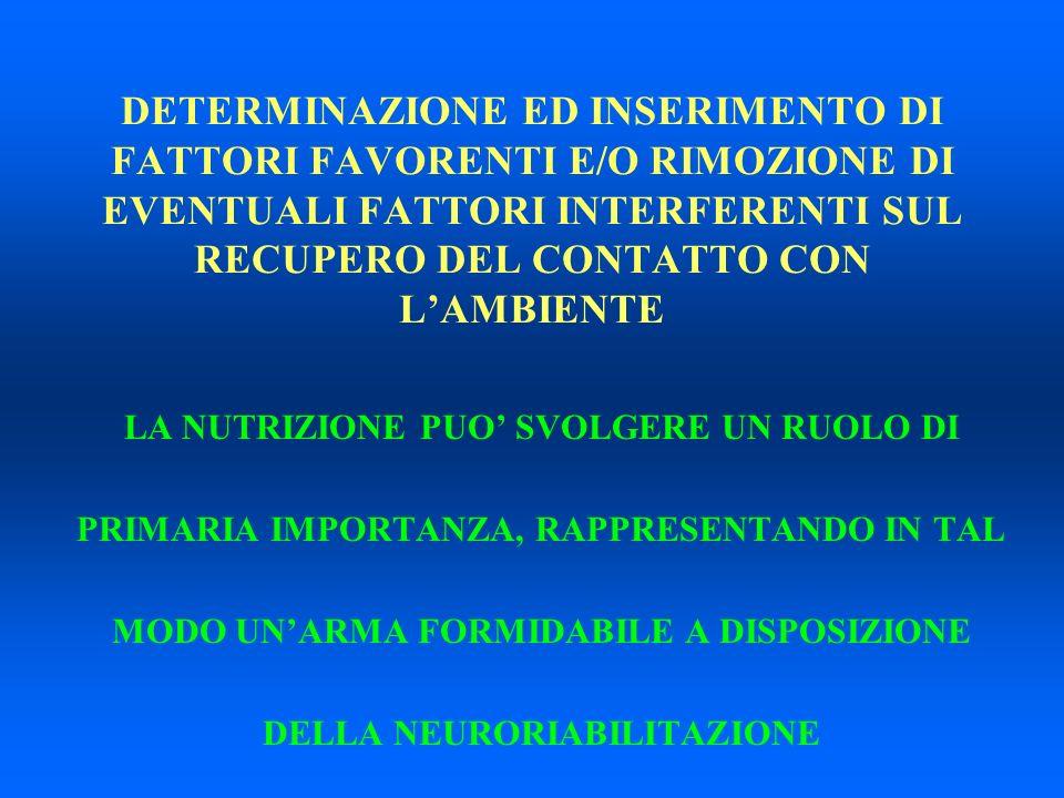 IPOTESI MONTESCANO LA NUTRIZIONE MODIFICA ALLA BASE LE ALTERAZIONI METABOLICHE CEREBRALI INDOTTE DALLEVENTO INDICE RIABILITAZIONE METABOLICA VELOCIZZAZIONE E MIGLIORE QUALITA DEL RECUPERO CEREBRALE