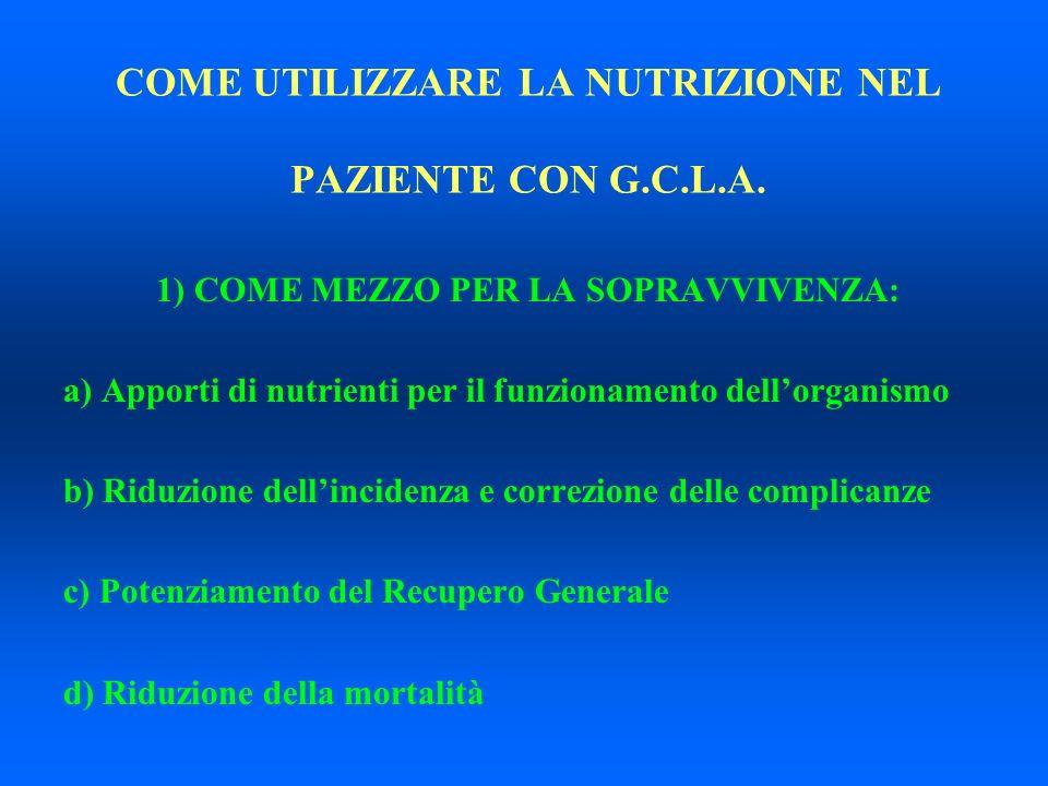 COME UTILIZZARE LA NUTRIZIONE NEL PAZIENTE CON G.C.L.A. 1) COME MEZZO PER LA SOPRAVVIVENZA: a) Apporti di nutrienti per il funzionamento dellorganismo