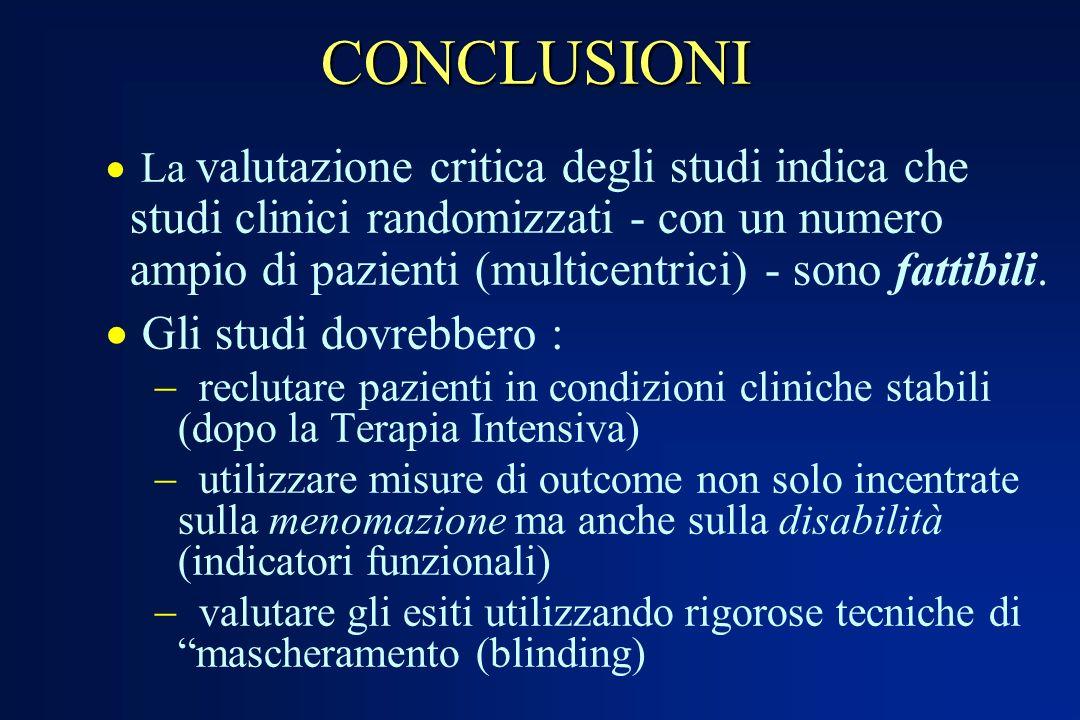 CONCLUSIONI La valutazione critica degli studi indica che studi clinici randomizzati - con un numero ampio di pazienti (multicentrici) - sono fattibil