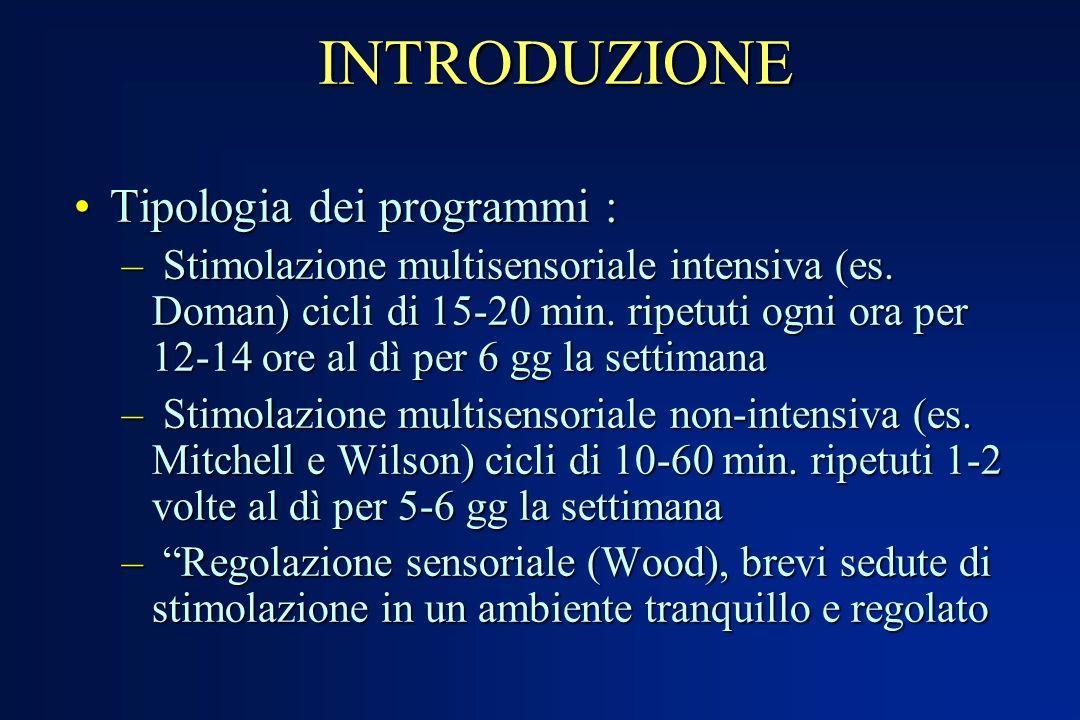 INTRODUZIONE Tipologia dei programmi :Tipologia dei programmi : – Stimolazione multisensoriale intensiva (es. Doman) cicli di 15-20 min. ripetuti ogni