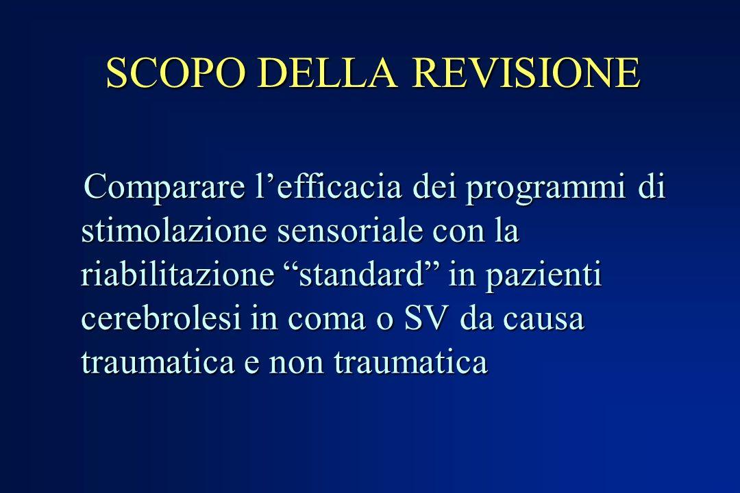 SCOPO DELLA REVISIONE Comparare lefficacia dei programmi di stimolazione sensoriale con la riabilitazione standard in pazienti cerebrolesi in coma o S