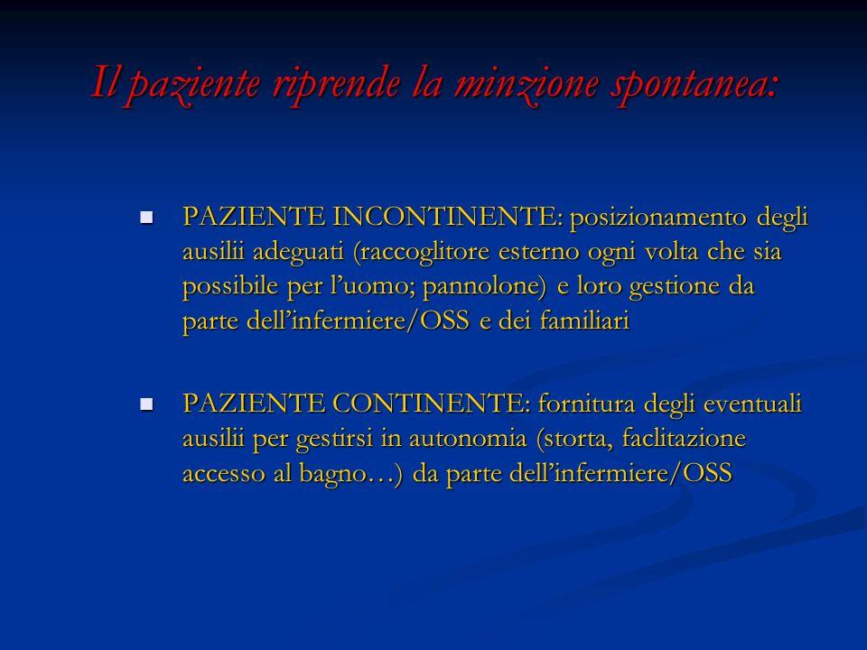 Il paziente riprende la minzione spontanea: PAZIENTE INCONTINENTE: posizionamento degli ausilii adeguati (raccoglitore esterno ogni volta che sia poss