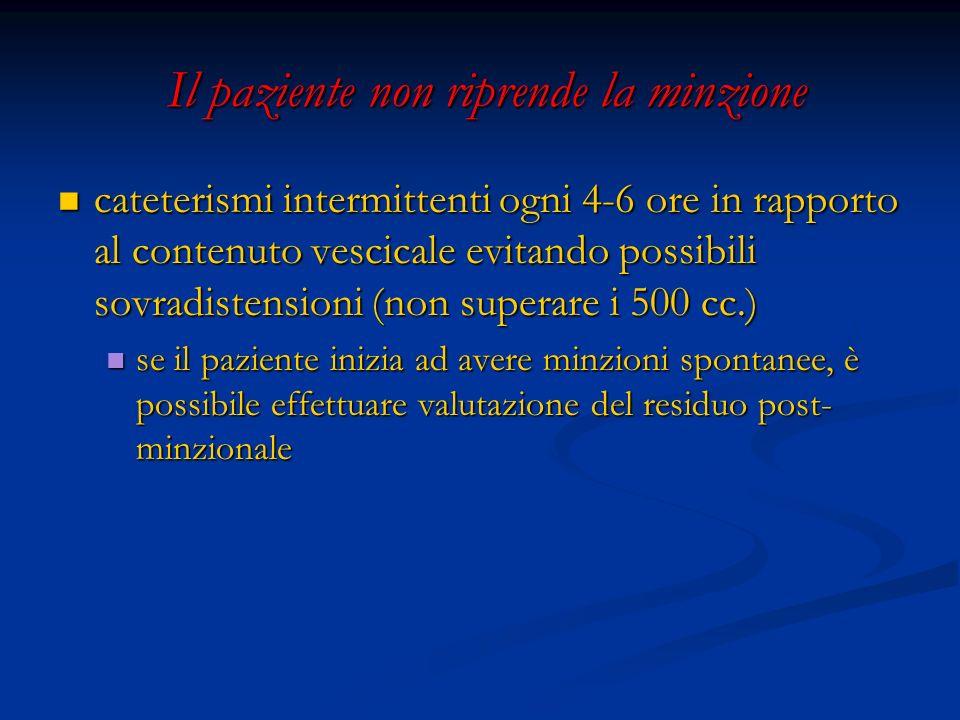 Il paziente non riprende la minzione Il paziente non riprende la minzione cateterismi intermittenti ogni 4-6 ore in rapporto al contenuto vescicale ev