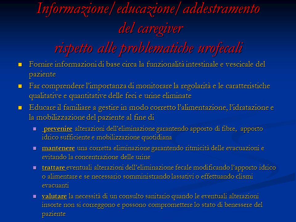 Informazione/educazione/addestramento del caregiver rispetto alle problematiche urofecali Fornire informazioni di base circa la funzionalità intestina