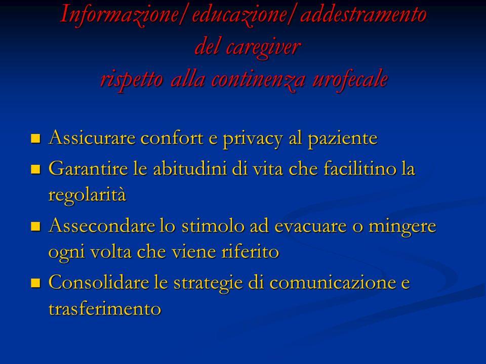 Informazione/educazione/addestramento del caregiver rispetto alla continenza urofecale Assicurare confort e privacy al paziente Assicurare confort e p