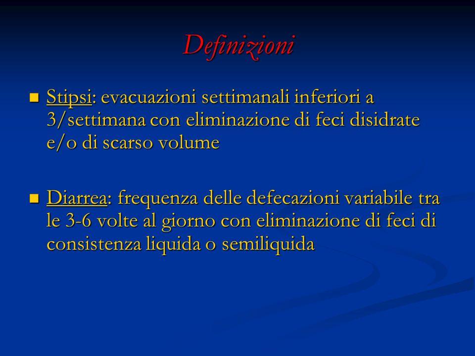 Definizioni Stipsi: evacuazioni settimanali inferiori a 3/settimana con eliminazione di feci disidrate e/o di scarso volume Stipsi: evacuazioni settim