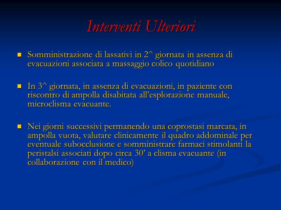 Interventi Ulteriori Somministrazione di lassativi in 2^ giornata in assenza di evacuazioni associata a massaggio colico quotidiano Somministrazione d