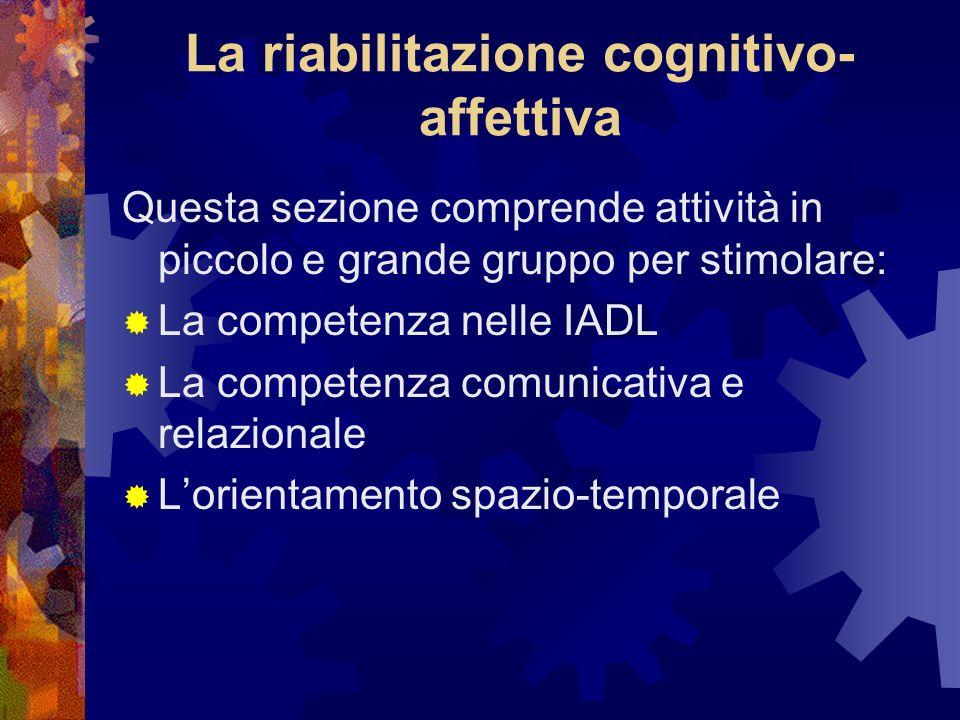 La riabilitazione cognitivo- affettiva Questa sezione comprende attività in piccolo e grande gruppo per stimolare: La competenza nelle IADL La competenza comunicativa e relazionale Lorientamento spazio-temporale