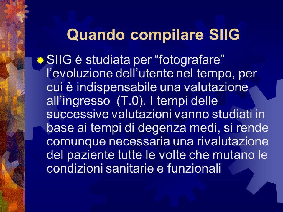 Quando compilare SIIG SIIG è studiata per fotografare levoluzione dellutente nel tempo, per cui è indispensabile una valutazione allingresso (T.0).